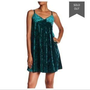 NORDSTROM bobeau green crushed velvet slip dress